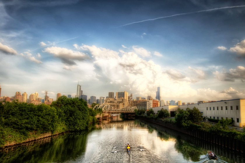 Rowing On The Chicago River Hdr HD Desktop Background